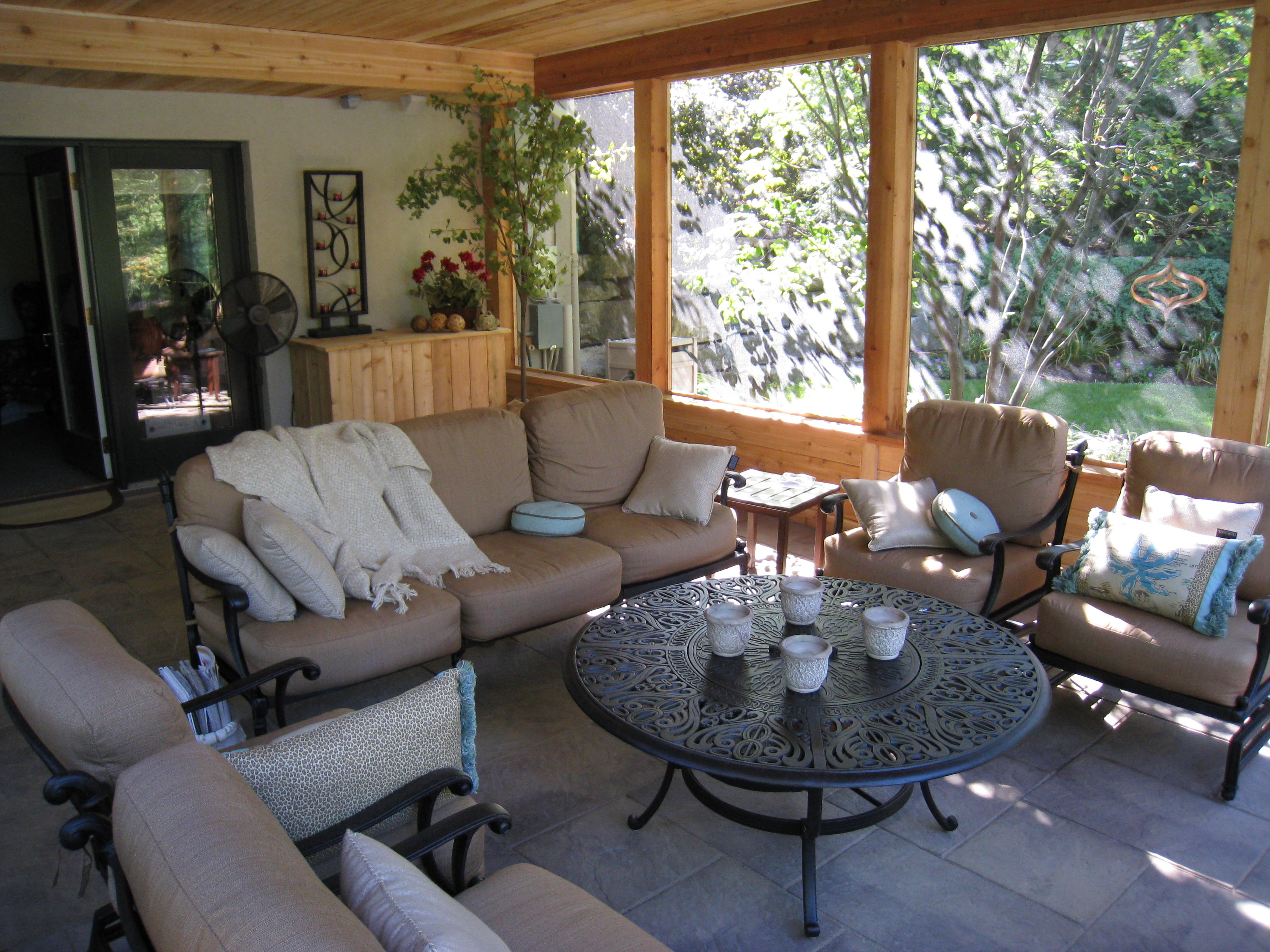 screen porch lounge chairs what type of fabric to cover kitchen room columbus ohio  decks porches and