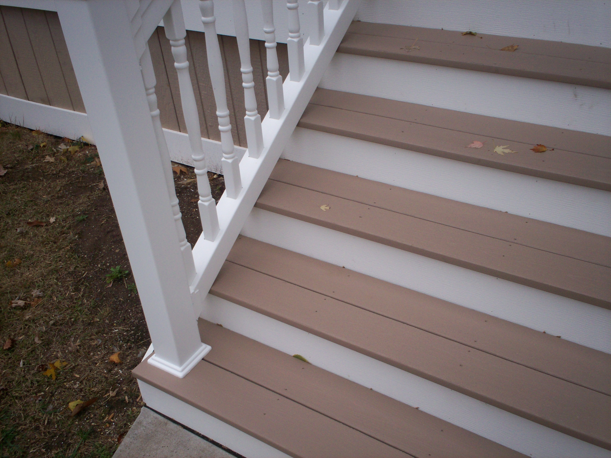 Azek Front Porch Stairs And Vinyl Railings With Columns In St | Front Porch Stair Railing | Wood | Style Cape Cod | Modern | Simple | Patio
