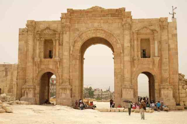 Hadrian's Gate. Main entrance to Jerash. Photo: Genevieve Hathaway Photography.
