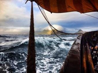 Rough Seas in Lofotr, A replica of the 9th Century Viking Longship, Gokstad.