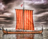 Lofotr, our Replica 9th  Viking ship form the Lofotr Viking Museum