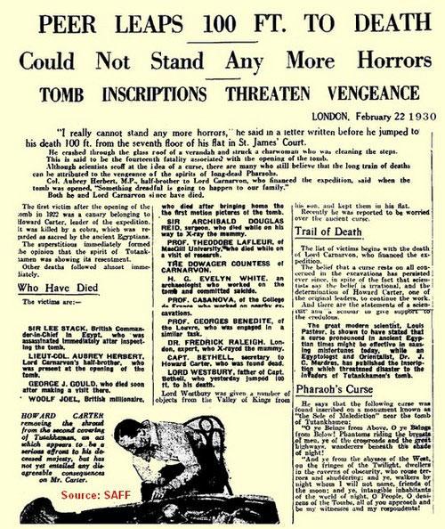 """Eine Zeitungsausgabe vo 1930 Jahren berichtet über das neuste Opfer des """"Fluch des Pharaos"""""""