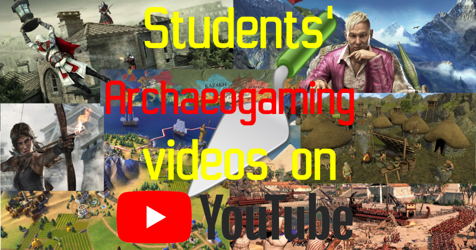 """Several screenshots of games are pasted together and the Text """"Students' Archaeogaming Videos on Youtube"""" is written over them."""