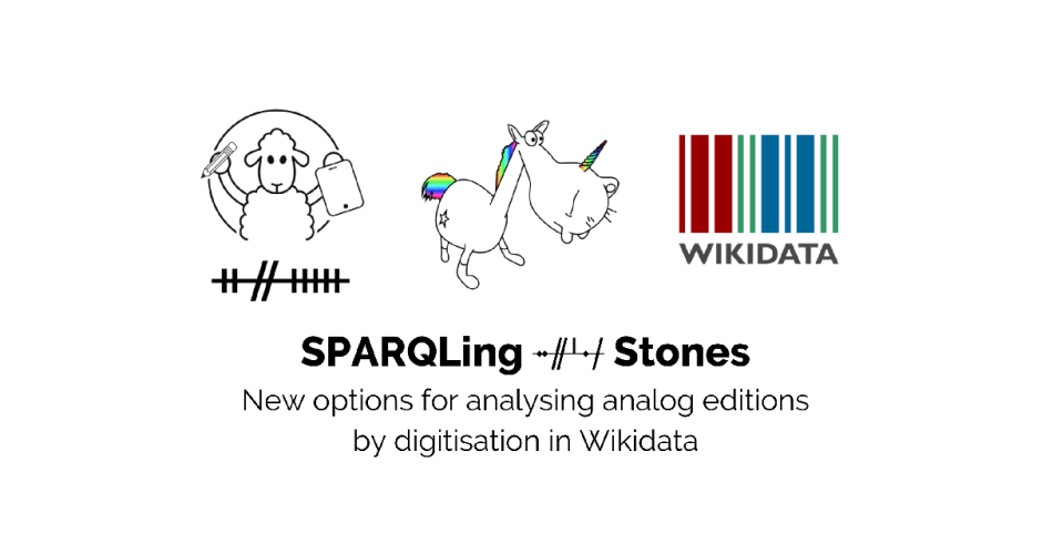 "Logo of the Ogi Ogham Prokect, the SPARQLing Unicorn ad Wikidata with the title of the paper written about in the Blogpost: ""SPARQLing Ogham Stones. New options for analysing analog editions by digitisation in Wikidata""."