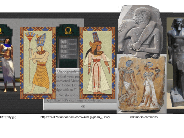 screenshots from civilizations and real depictions of ancient egyptian royal couples