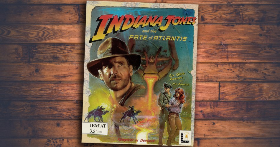 "Showing the cover of the videogame box ""Indiana Jones and the Fate of Atlantis"""