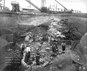 "Scanned image of view W showing excavation works during construction for gun No.1 (9.2"") at the South Sutor, Cromarty. The brick foundations for the magazine area are visible. SC910816. Copyright RCHAMS: Crown Copyright"