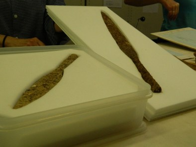 Warrior graves? Two of the spearheads recovered from Bulford burials.