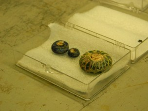 Polychrome glass beads, found in child burials.