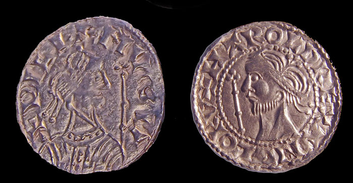 A coin of William I (LEFT) a coin of Harold II (RIGHT). Their busts are not realistic portraits but fairly interchangeable stylised images of kings – an aspirational imitation of the coins of Byzantine emperors.