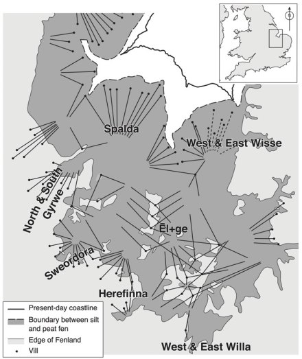 Map - the rights of common in the medieval East Anglian fenland preserve 5th- and 6th-century territories of communities or 'folk', in which a number of contiguous 'vills' shared an exclusive area of fen grazing. The head of each pin shows the location of a settlement, and the sharp end marks the fens in which its men could graze their animals. The names of these polities were recorded by the mid- to late 7th century.