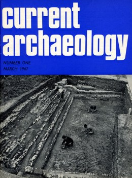 The cover of the first issue of CA showing the well -preserved swimming pool in Hemel Hempstead, a site under excavation back in 1966, but now buried under the grass of Gadebridge Park.