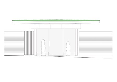 In contrast to our lead image, this is a plan for how the new home of the Calder stones will look: the uprights will be arranged in a corridor to reflect their passage tomb origins, while the green roof represents the covering burial mound.