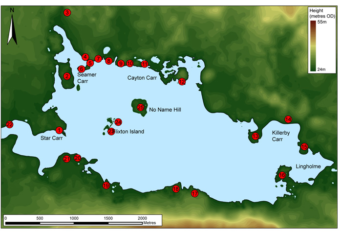 These maps show the location of the long dried-up lake Flixton, and the scatter of Mesolithic sites that have been identified around its shores in recent decades.