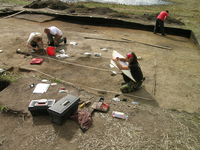 Recording and sampling the remains of the 'eastern structure', shortly after the building's discovery in 2008