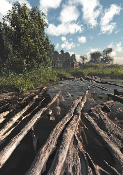 Archaeological work at Star Carr has provided unprecedented insights into life during the Mesolithic period. This reconstruction, based on excavated remains, shows one of the three huge timber platforms (the western platform) built at the site, looking towards a Mesolithic house.