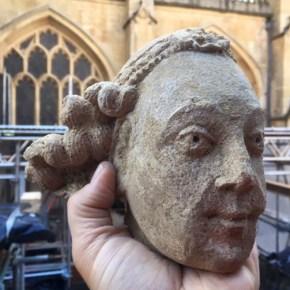 A Renaissance Italian style carved angel's head
