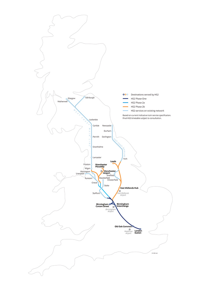 A map showing the new HS2 network