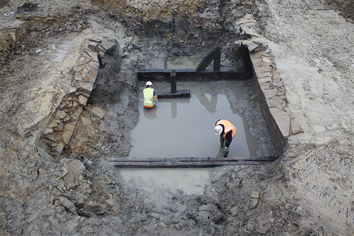 The remains of the bridge unearthed in the moat