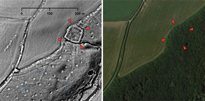 LiDAR scan and photo of an area with an archaeological feature