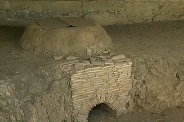 One of the 52 furnaces for baking ceramic items discovered at the Ancient Roman villa estate near Bulgaria's Pavlikeni. Photo: TV grab from News7