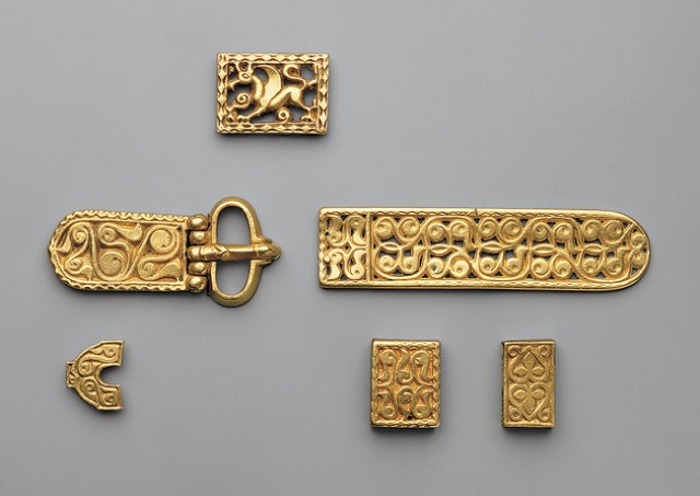 An Ancient Bulgar aristocrat's belt buckle and decorations discovered in Vrap, Albania. Photo: Burgas Regional Museum of History