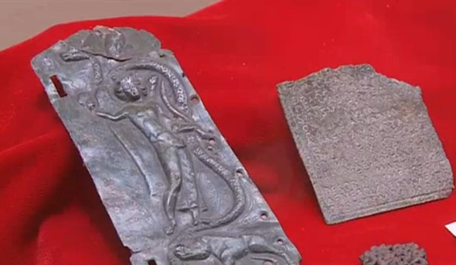 An anaglyph (camaieu) of Ancient Roman goddess of wisdom Minerva found the hill of the Krakra Fortress near Bulgaria's Pernik; it is part of the collection of the Pernik Regional Museum of History. Photo: TV grab from News7