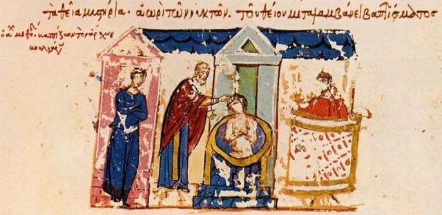The baptism of Bulgaria's Knyaz Boris I Mihail in 864 AD. A miniature from the Chronicle of the Byzantine historian John Skylitzes, 11th century AD. Photo: Wikipedia