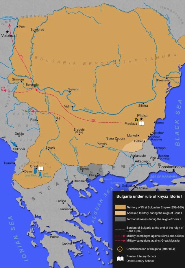 Bulgaria (the First Bulgarian Empire) during the reign of Knyaz Boris I Mihail (r. 852-889; 893 AD). Map: Mpb, Wikipedia