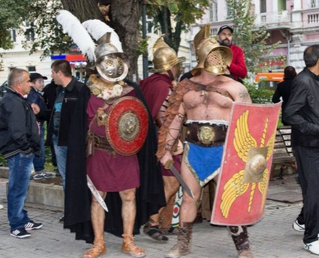 "Reenactors presenting Ancient Roman gladiators during the 2014 Fall edition of the Eagle on the Danube Festival in Bulgaria's Svishtov entitled ""The Vines of Novae"". Photo: Nelly Petrova, EagleontheDanube.org"