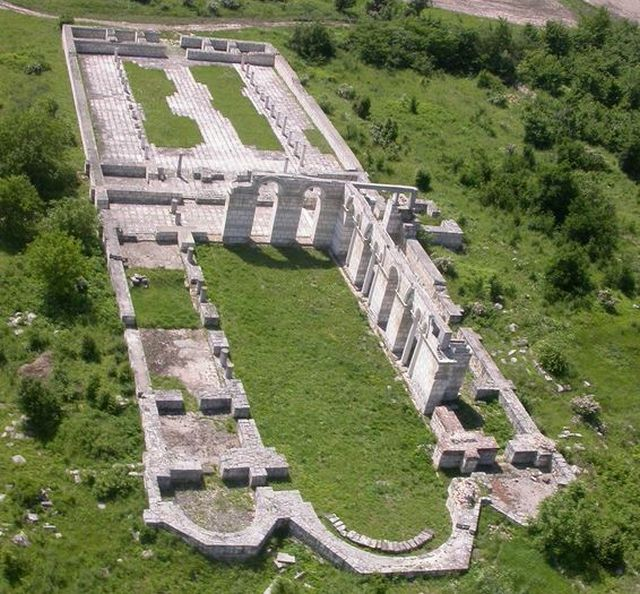 An aerial view of the ruins of the 9th century Great Basilica in the early medieval Bulgarian capital Pliska, with partial restorations. Photo: National Insitute and Museum of Archaology, Europeana Carare Project