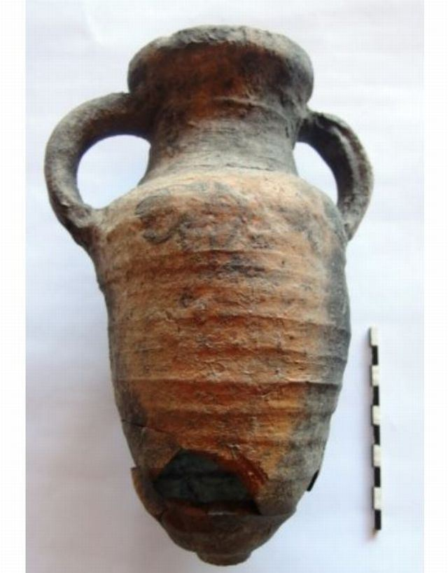"One of the amphorae discovered by the Bulgarian archaeologists in the Early Byzantine fortress Talaskara on the Black Sea Cape Chervenka, also known as Chrisosotira, or ""Golden Savior, Golden Christ"