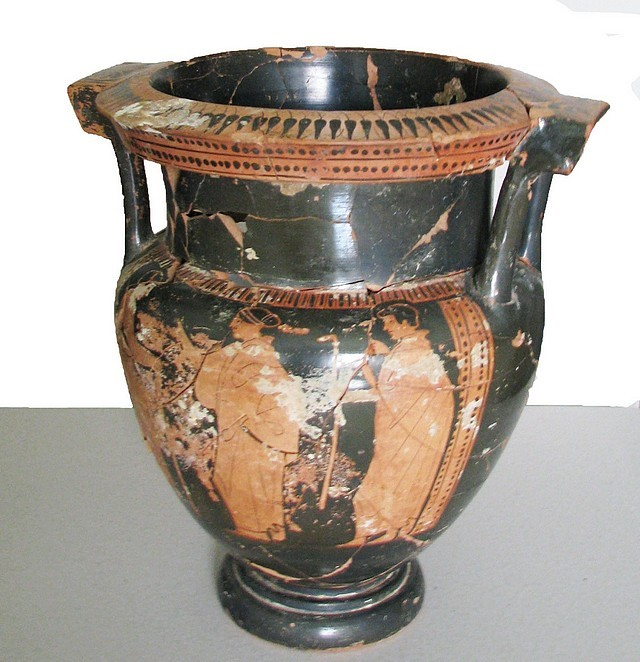The Ancient Greek red-figure ceramic krater seized from a Bulgarian treasure hunter recently may have been produced in ancient Athens; it is dated to the Age of Pericles, part of the Golden Age of Athens, in the 5th century BC. Photo: Bulgaria's Ministry of Interior