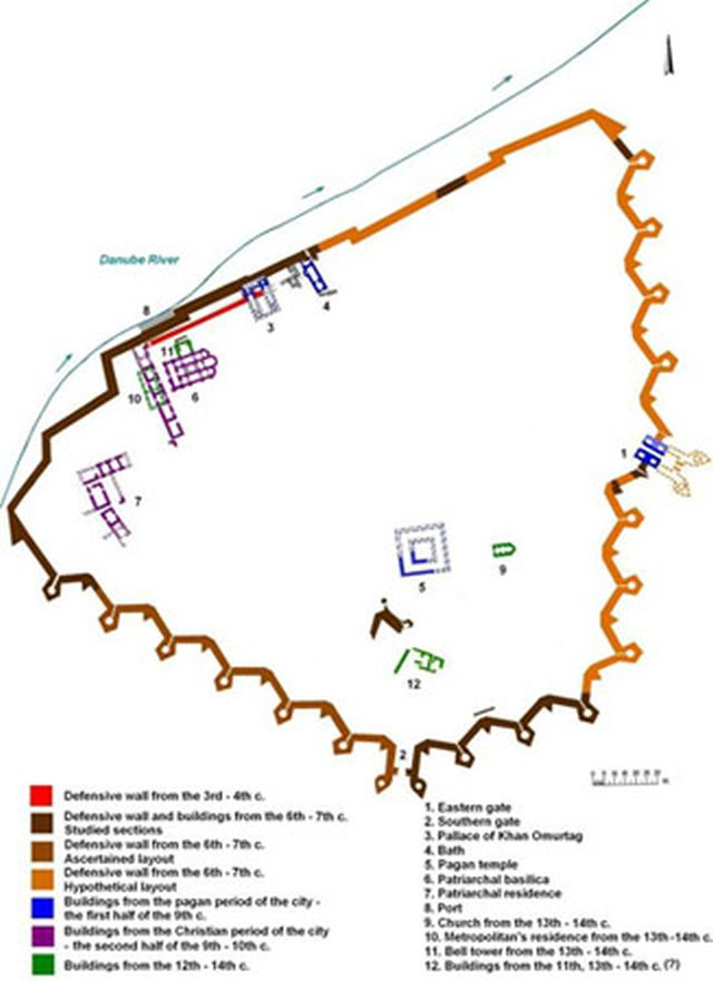 A map of the archaeological preserve of the ancient city of Durostorum / medieval city of Drastar, today's Bulgarian Danube city of Silistra. The preserve was set up in 1971. The latest discovery of the previously unknown outer fortress wall, however, renders this map incomplete as it turns out that it shows only the inner city fortress around the Roman military camp of Legio XI Claudia (Claudius' 11th Legion), which the outer wall defended both the military camp, and the cilivilian settlement nearby, the so called Canabae legionis. Map: Silistra Regional Museum of History