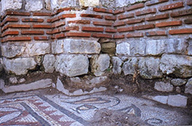 Floor mosaics and a wall from the Early Christian Byzantine monastery in the Dzhanavara area near Bulgaria's Varna. Photo: archaeologist Alexander Minchev, varna-bg.com