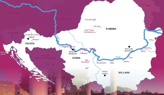 The Map of the Roman Emperors' Route in the Lower Danube Region including Bulgaria, Croatia, Romania, and Serbia. Map: Danube Competence Center