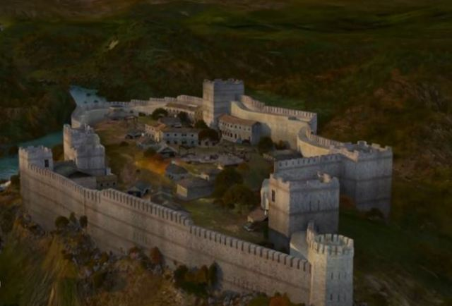 """A computer generated model reconstruction of what the medieval Bulgarian fortress Urvich located 15 km southeast of Sofia looked like in the 13th-14th century AD. Photo: TV grab from """"5 Minutes of Sofia"""" TV Series, Vbox7"""