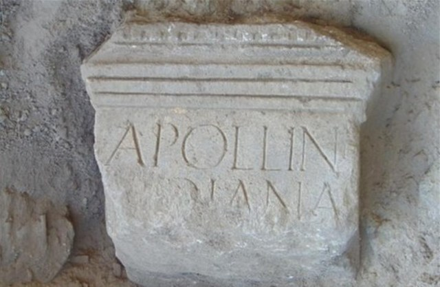 "The newly discovered inscription in Latin from the Ancient Roman city of Novae in Bulgaria's Danube town of Svishtov is dedicated to ancient deities Apollo and Diana. It is intriguing because it mentions Apollo first, and Diana second, and because of the form of Apollo's name - ""Apollini"". Photo: Trud daily"