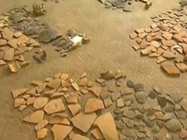 Ancient Roman ceramics discovered in the rescue excavations at the construction site in Bulgaria's Ruse. Photo: TV grab from BNT 2