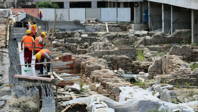 Part of the Ancient Roman ruins of the city of Serdica which will be exhibited in situ to create an open-air museum in the downtown of the Bulgarian capital Sofia. Photo: Mediapool