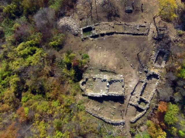 This aerial photo shows part of the ruins of the Urvich Fortress, located 15 km southeast of Bulgaria's capital Sofia. Photo: National Museum of History