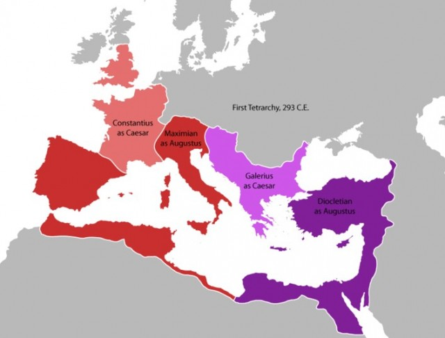 A map of the Roman Tetrarchs under the First Tetrarchy, the system set up by Emperor Diocletian under which the Roman Empire was ruled by two senior and two junior emperors. Map: Wikipedia