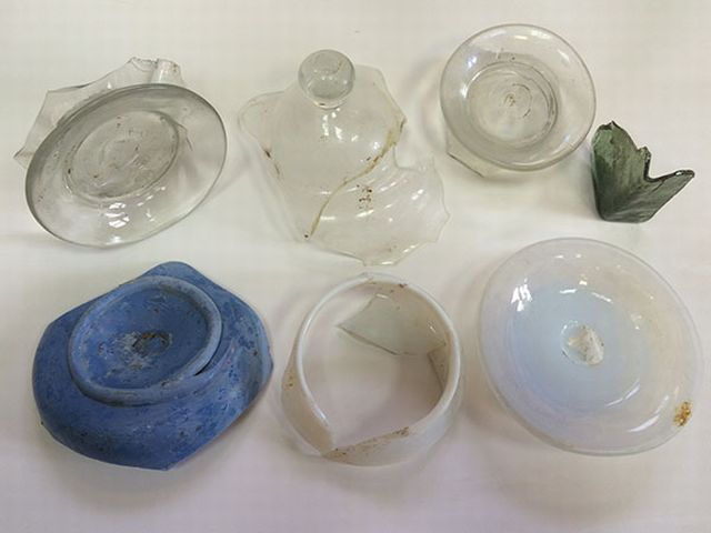 Fragments of imported Western European glass vessels from the Ottoman period discovered during the excavations of the Roman city of Sexaginta Prista in Bulgaria's Danube city of Ruse. Photo: Ruse Regional Museum of History
