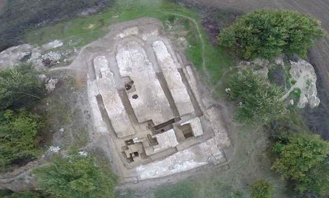 An aerial view of the ruins and underground level that are left from the Bulgarian church from the 880s AD built in the Ancient Bulgar aul near the town of Khan Krum in Northeast Bulgaria. Photo: Veliki Preslav Museum of Archaeology