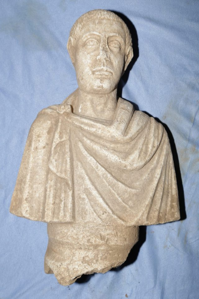 This marble bust, allegedly of Roman Emperor Gordian III, has been seized by the Bulgarian police from a trafficker of antiques, and transferred to the collection of the National Museum of History in Sofia. Photo: National Museum of History