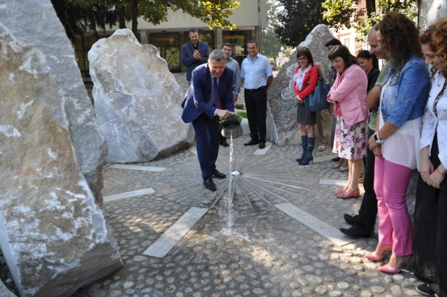The formal unveiling in the downtown of Bulgaria's Razlog of the recreated ensemble of Ancient Thracian steles found in the sun shrine in Stolovatets. Photo: Razlog Municipality