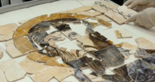 The restoration and adding of newly found fragments to the 10th century icon of St. Theodore Stratilates made of painted ceramics from Veliki Preslav, capital of the First Bulgarian Empire in 893-970 AD, during the Golden Age of Old Bulgarian culture and literature. Photos: TV grabs from BNT