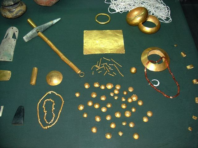 Some of the numerous gold artifacts which are part of the Varna Gold Treasure, the world's oldest processed gold, as exhibited in the Varna Museum of Archaeology in Varna, Bulgaria. Photo: Yelkrokoyade, Wikipedia