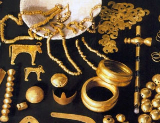Some of the numerous gold artifacts which are part of the Varna Gold Treasure, the world's oldest processed gold. Photo: Standart daily