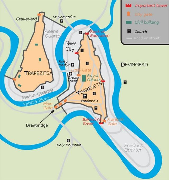 A map of Tarnovgrad, capital of the Second Bulgarian Empire (1185-1396 AD), today's Veliko Tarnovo, showing the location of Frenkhisar (the Frankish Quarter) in the southeast. Map: Martyr, Wikipedia